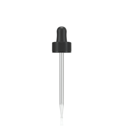 Black dropper assembly with rubber bulb and glass pipette (matching 60 ml boston round) - 1 Unit @ $0.25 Per Dropper